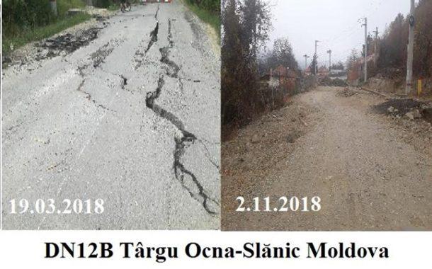 Drumul spre Slănic, rupt de alunecări de teren, ignorat de Guvern